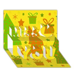Christmas Design   Yellow Miss You 3d Greeting Card (7x5) by Valentinaart