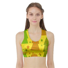 Christmas Design - Yellow Sports Bra With Border by Valentinaart