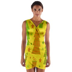 Christmas Design - Yellow Wrap Front Bodycon Dress by Valentinaart