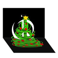 Christmas Tree Peace Sign 3d Greeting Card (7x5)