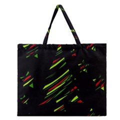 Abstract Christmas Tree Zipper Large Tote Bag by Valentinaart