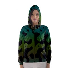 Black Spots On A Gradient Background                                                                                                  Hooded Wind Breaker (women) by LalyLauraFLM