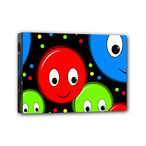 Smiley Faces Pattern Mini Canvas 7  X 5  by Valentinaart