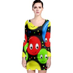 Smiley Faces Pattern Long Sleeve Bodycon Dress by Valentinaart