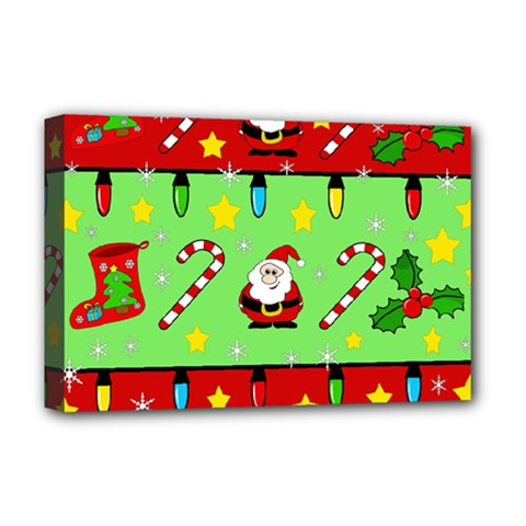 Christmas Pattern   Green And Red Deluxe Canvas 18  X 12   by Valentinaart