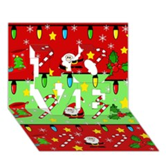 Christmas Pattern   Green And Red Love 3d Greeting Card (7x5) by Valentinaart