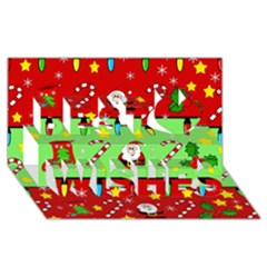 Christmas Pattern   Green And Red Best Wish 3d Greeting Card (8x4) by Valentinaart