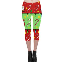 Christmas Pattern   Green And Red Capri Leggings  by Valentinaart
