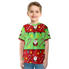 Christmas Pattern   Green And Red Kid s Sport Mesh Tee by Valentinaart