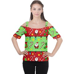 Christmas Pattern   Green And Red Women s Cutout Shoulder Tee by Valentinaart