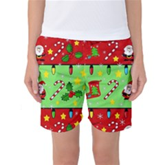 Christmas Pattern - Green And Red Women s Basketball Shorts by Valentinaart