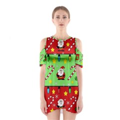 Christmas Pattern   Green And Red Cutout Shoulder Dress by Valentinaart