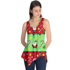 Christmas Pattern   Green And Red Sleeveless Tunic by Valentinaart