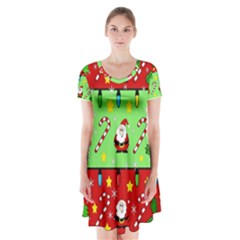 Christmas Pattern   Green And Red Short Sleeve V Neck Flare Dress by Valentinaart