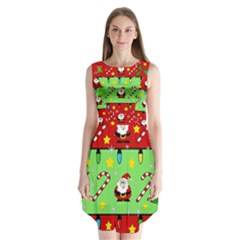 Christmas Pattern   Green And Red Sleeveless Chiffon Dress   by Valentinaart