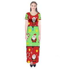 Christmas Pattern   Green And Red Short Sleeve Maxi Dress by Valentinaart