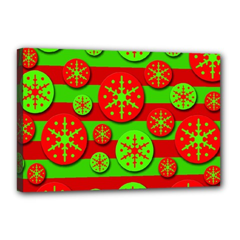 Snowflake Red And Green Pattern Canvas 18  X 12  by Valentinaart