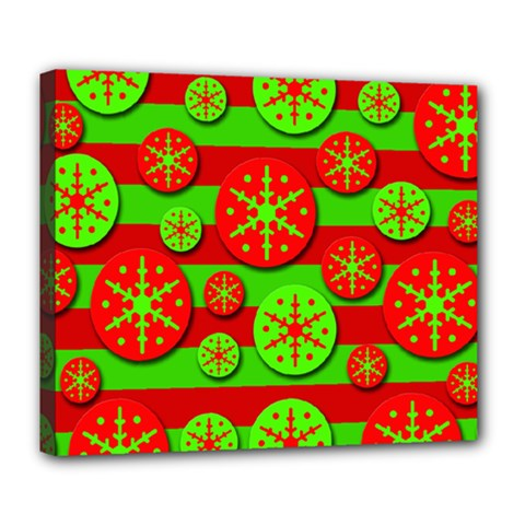 Snowflake Red And Green Pattern Deluxe Canvas 24  X 20   by Valentinaart