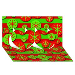 Snowflake Red And Green Pattern Twin Hearts 3d Greeting Card (8x4) by Valentinaart