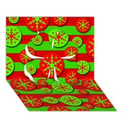 Snowflake Red And Green Pattern Clover 3d Greeting Card (7x5) by Valentinaart