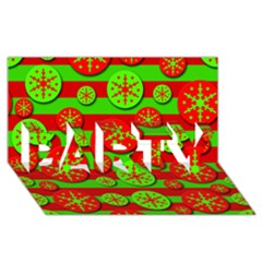 Snowflake Red And Green Pattern Party 3d Greeting Card (8x4) by Valentinaart