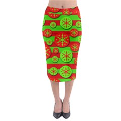 Snowflake Red And Green Pattern Midi Pencil Skirt by Valentinaart