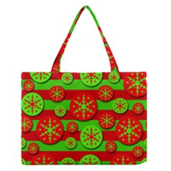 Snowflake Red And Green Pattern Medium Zipper Tote Bag by Valentinaart