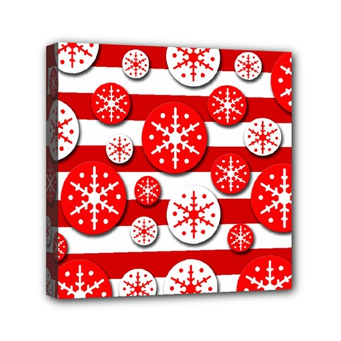 Snowflake Red And White Pattern Mini Canvas 6  X 6  by Valentinaart