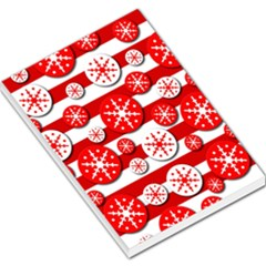 Snowflake Red And White Pattern Large Memo Pads by Valentinaart