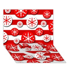 Snowflake Red And White Pattern Circle Bottom 3d Greeting Card (7x5) by Valentinaart