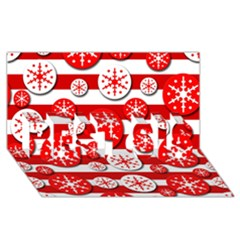 Snowflake Red And White Pattern Best Sis 3d Greeting Card (8x4) by Valentinaart