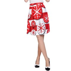 Snowflake Red And White Pattern A Line Skirt by Valentinaart