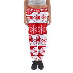 Snowflake Red And White Pattern Women s Jogger Sweatpants by Valentinaart