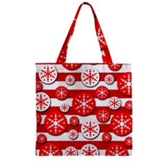 Snowflake Red And White Pattern Zipper Grocery Tote Bag by Valentinaart
