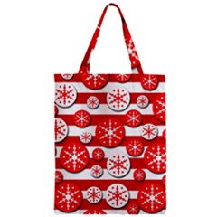 Snowflake Red And White Pattern Zipper Classic Tote Bag by Valentinaart