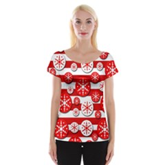Snowflake Red And White Pattern Women s Cap Sleeve Top by Valentinaart