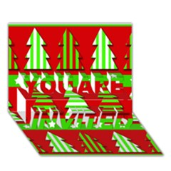 Christmas Trees Pattern You Are Invited 3d Greeting Card (7x5) by Valentinaart