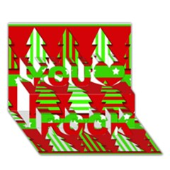 Christmas Trees Pattern You Rock 3d Greeting Card (7x5)