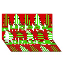 Christmas Trees Pattern Merry Xmas 3d Greeting Card (8x4)