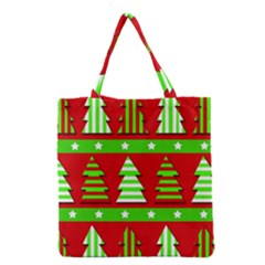 Christmas Trees Pattern Grocery Tote Bag by Valentinaart