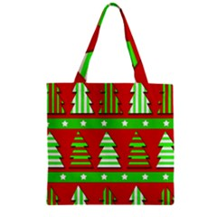 Christmas Trees Pattern Zipper Grocery Tote Bag by Valentinaart