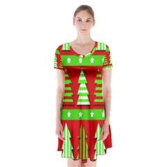 Christmas Trees Pattern Short Sleeve V Neck Flare Dress by Valentinaart