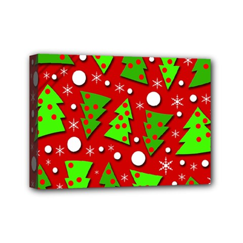 Twisted Christmas Trees Mini Canvas 7  X 5  by Valentinaart
