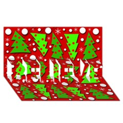 Twisted Christmas Trees Believe 3d Greeting Card (8x4)