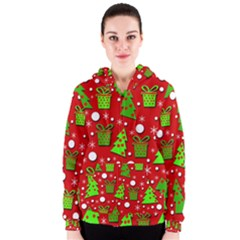 Christmas Trees And Gifts Pattern Women s Zipper Hoodie by Valentinaart