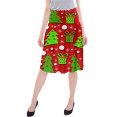 Christmas Trees And Gifts Pattern Midi Beach Skirt by Valentinaart