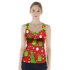Christmas Trees And Gifts Pattern Racer Back Sports Top by Valentinaart