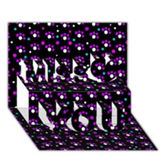 Purple Dots Pattern Miss You 3d Greeting Card (7x5) by Valentinaart