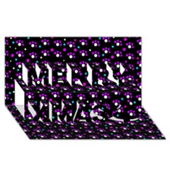 Purple Dots Pattern Merry Xmas 3d Greeting Card (8x4) by Valentinaart
