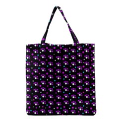 Purple Dots Pattern Grocery Tote Bag by Valentinaart